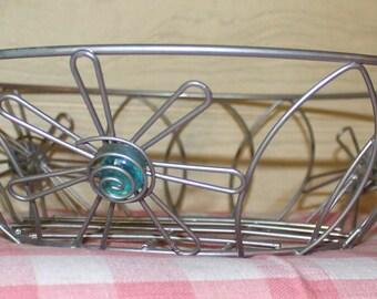 Retro Galvanized Steel Basket - Flowers - Wire - Home Decor - Housewares - Serving - Hippie