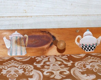 Hand Painted Wooden Wall Dish Towel Rack - Vintage - Cottage Decor - Rustic - Teapots -Home Decor - Housewares - Shabby Chic - Kitchen Decor