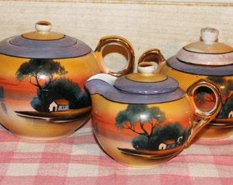 Handpainted Vintage Tea Set - Collectibles - Home Decor - Housewares - Japan - Porcelain - Gold - Shabby Chic - Mid Century