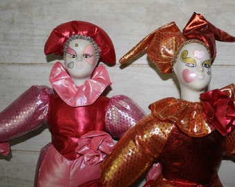 SALE! Sugar Loaf Jester Dolls - Set of 2 - Collectibles - Home Decor - Clown Dolls - Toys- Dolls