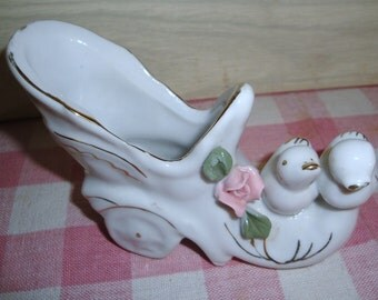 Vintage Porcelain Shoe Figurine - Vase - Shabby Chic - Cottage Decor - Birds - Pink Rose - Home Decor - Collectibles - White - Gold Trim