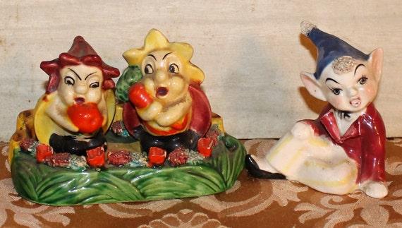 SALE! - Strange Ladybugs and Elf Figurines Bundle - Retro - Collectibles - Home Decor