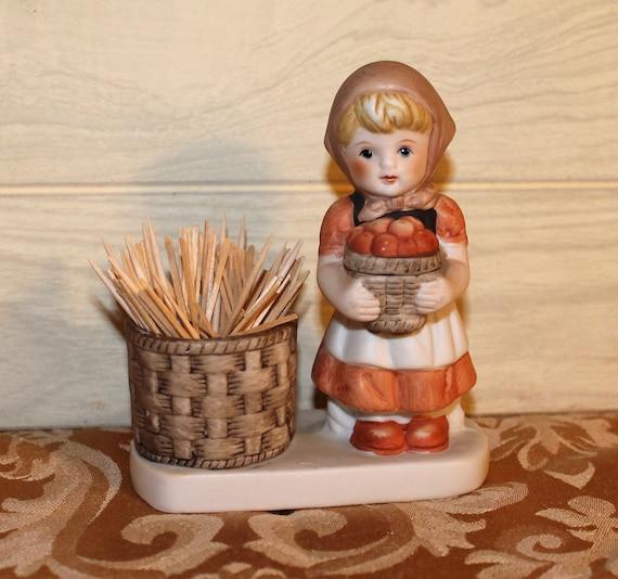 Little Girl Holding a Basket of Apples - Vintage Toothpick Holder or Bud Vase - Home Decor - Housewares - Collectibles
