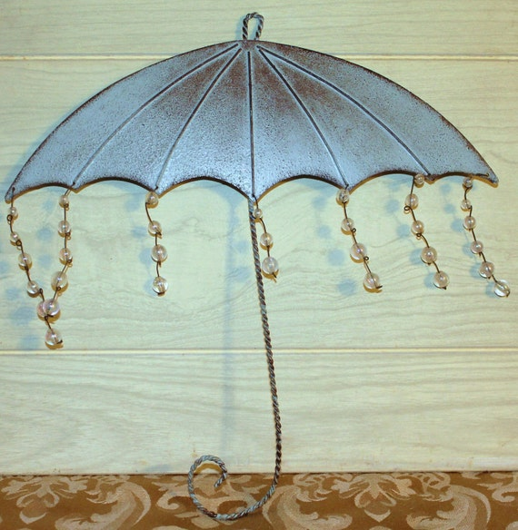 Metal Umbrella Wall Decor : Unique vintage umbrella wall hanging teal metal