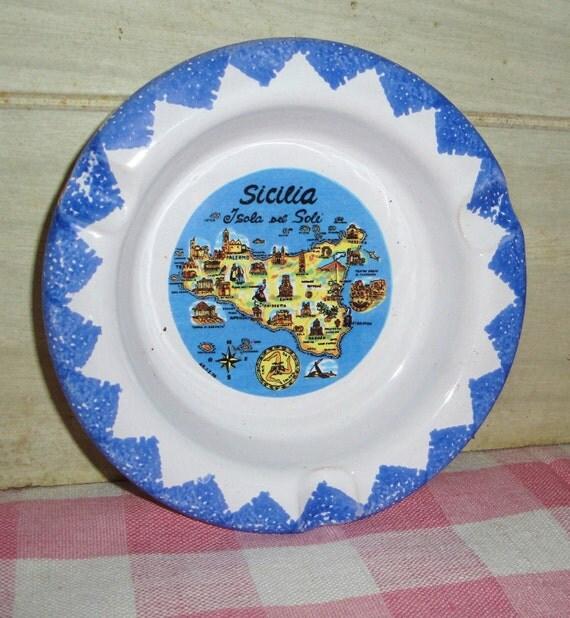 Vintage Sicily Ashtray - Map - Dish - Souvenir - Home Decor - Housewares - Collectibles - Pottery - Ceramic