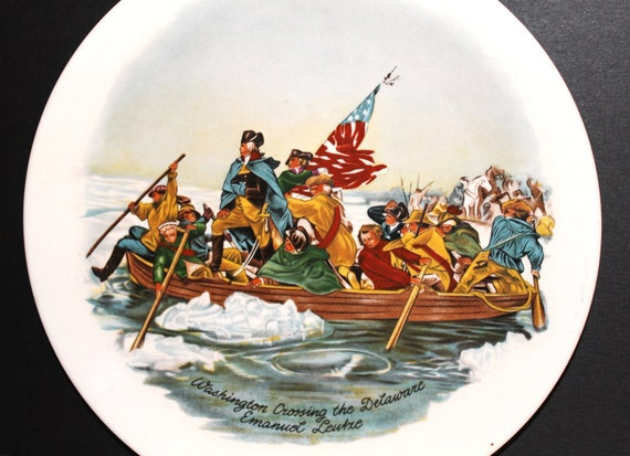 Vintage American History Plate - Washington Crossing the Delaware - Collectibles - Historical - Revolutionary  War - Home Decor