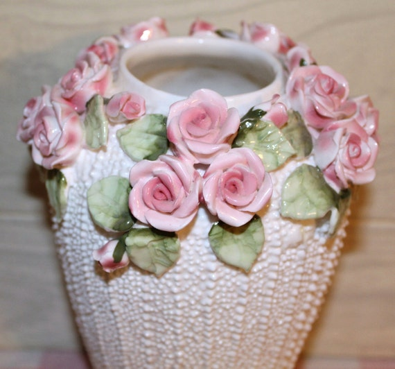 Unique Vintage Jolie Fleurs Bone China Vase - Seymour Mann 1987 - Shabby Chic White & Pink Roses - Home Decor - Cottage Decor