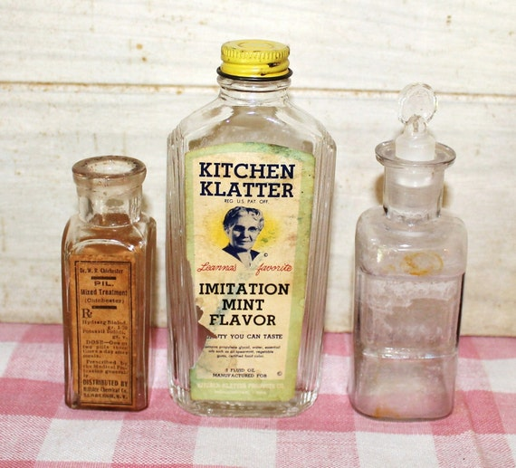 Apothecary Glass Bottles - Vintage - Collectibles - Home Decor - Rustic - Kitchen Decor - Farmhouse Decor - Country - Instant Collection
