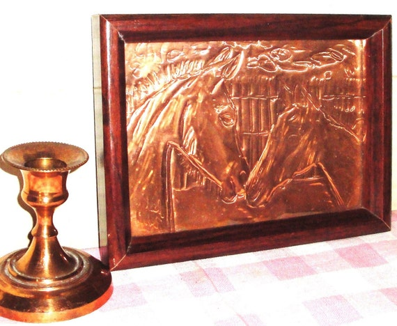 Old Copper Tin Horse Etching Amp Copper Candlestick By