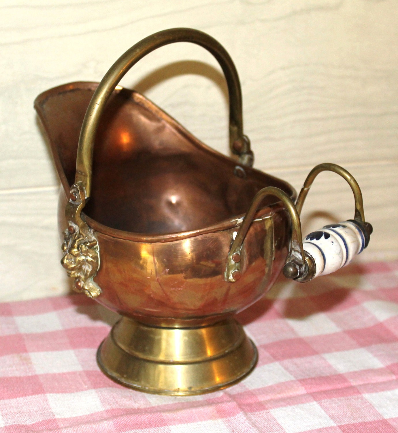 Vintage Copper And Brass Coal Scuttle Home Decor By