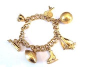 Monet Charm Bracelet Sports Theme Vintage Goldtone