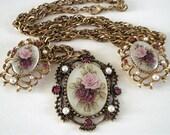 Vintage Necklace Pendant Roses Earrings Flower Set Rhinestones Faux Pearls