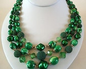Vintage Necklace Green Beads Three Strand 1950s Hong Kong Mad Men Style