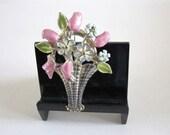 Vintage Flower Basket Brooch Enamel Lavender, Green, Blue Springtime Flowers