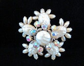 Vintage Brooch Pearl Baroque Cabochons AB Rhinestones