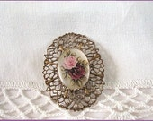 Vintage Roses Brooch Oval Frosted Cabochon Stamped Metal