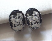 Oriental Rickshaw Driver Reverse Carved and Painted Clip Earrings