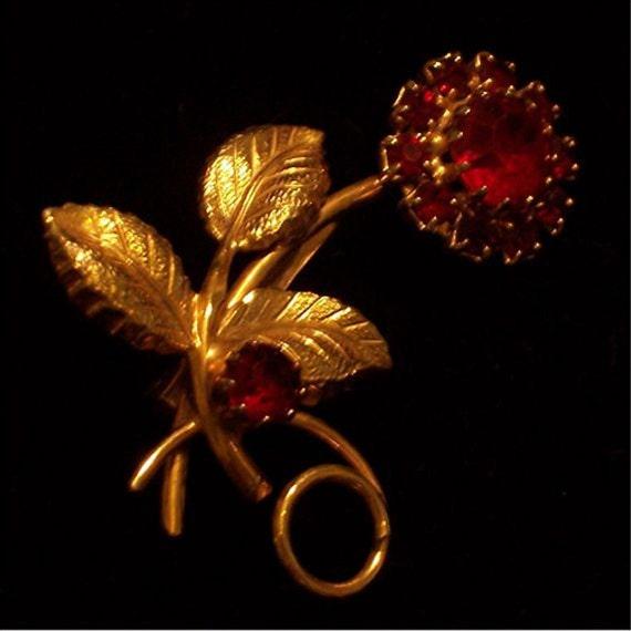 Vintage Rhinestone Pin Brooch Red Flower