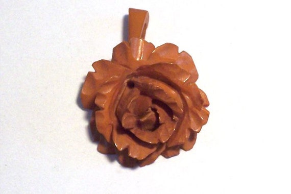 Bakelite Rose Pendant Vintage Carved Butterscotch Honey
