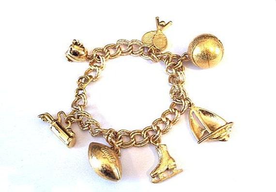 Monet Charm Bracelet Sports Theme Vintage Goldtone