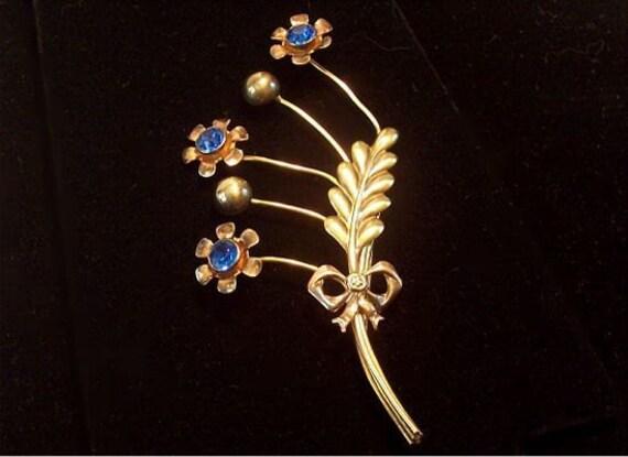Van Dell 1940s Flower Brooch Retro Sterling Blue Rhinestones  Rose Gold