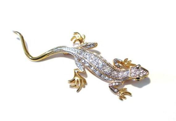 Lizard Pin Rhinestone Brooch Green Eyes