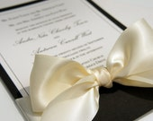 "Elegant  ""Black Tie Affair"" Wedding Invitations Black and White/Ivory Classic Ribbon & Bow -- SAMPLE"