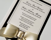 "Elegant Traditional Black and Ivory Classic Ribbon and Rhinestone Buckle Wedding Invitations ""Diamond Affair"" -- SAMPLE"