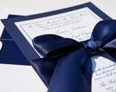 "Classy Navy Satin Ribbon and Bow Elegant Wedding Invitation ""Navy Ball"" - SAMPLE"