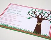 """Love Birds in Tree Bark Carving Initials Summer """"Love Birds"""" Wedding Invitation -- SAMPLE"""