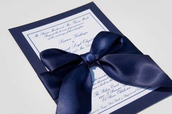 "Classy Navy Satin Ribbon and Bow Elegant Wedding Invitation ""Navy Ball"" - SAMPLE"
