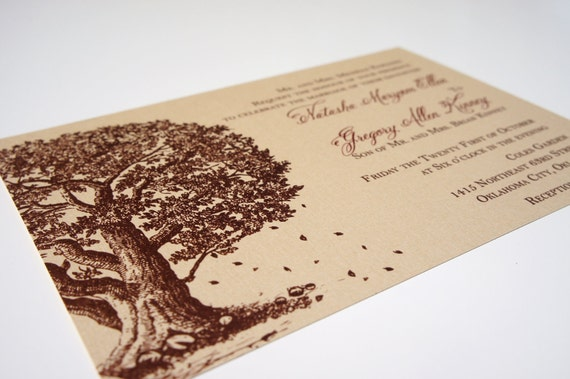 "Autumn Tree Wedding Invitation Falling Leaves Shimmer Metallic ""Falling In Love"" -- SAMPLE"