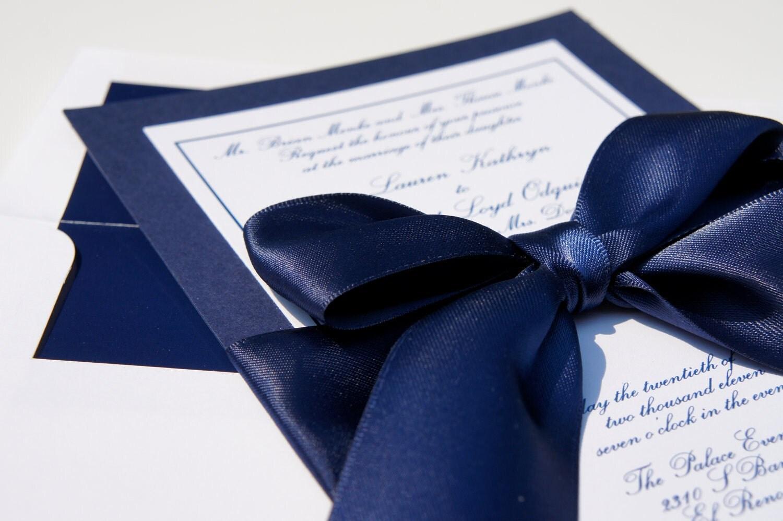 Navy Blue And White Wedding Invitations: Classy Navy Satin Ribbon And Bow Elegant By Dovetaildesignok
