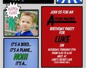 Boy's superhero birthday invitation