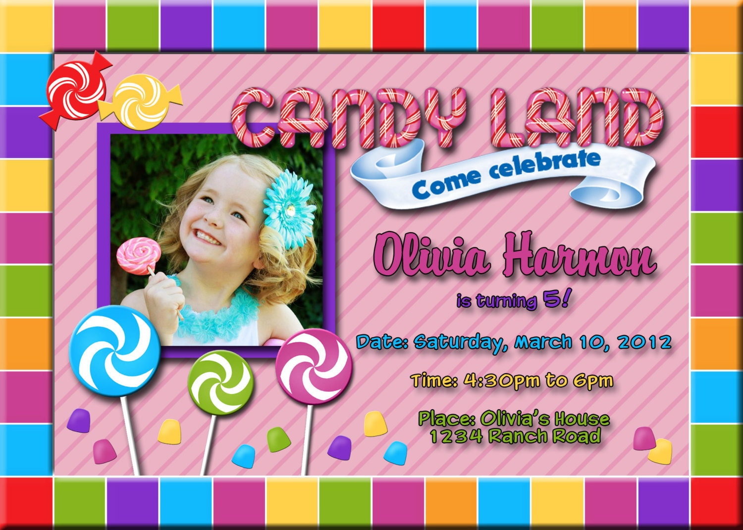 Candyland Party Invitations as good invitation layout