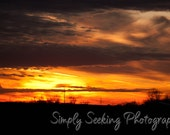 Landscape Photography-Autumn Sunset  5X7 fine art print of brilliant blazing sky of an autumn sunset - simplyseekingphotos