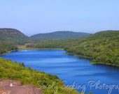 Landscape Photogarphy-Lake of the Clouds 5X7 fine art print- brilliant blue Lake of the Clouds as seen from overlook