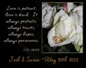 Personalized Wedding Gift- 8X10 print of white roses and wedding rings-Bible verse & customization