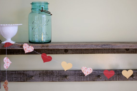 Heart Paper Garland: Red, Yellow and Sweet Pink Flowers