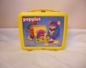1980's popples yellow plastic lunch box