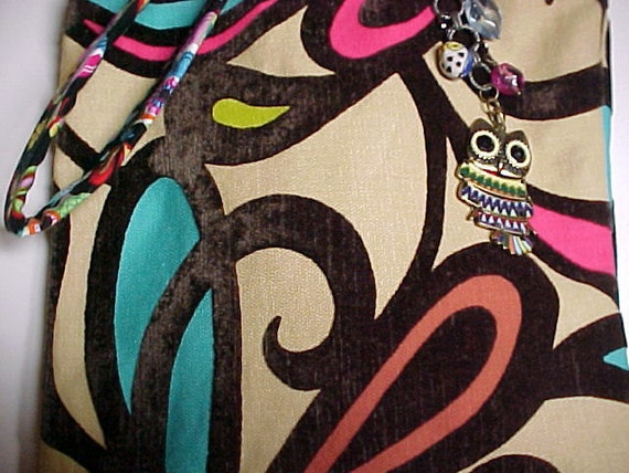 """Crossbody Purse / Bag Reversible Washable Sling Novelty Trendy Hip """"COLORFUL OWLS""""  with Keychain / Bagcharm"""