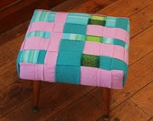 woven woolly footstool - lilac and aqua - SALE