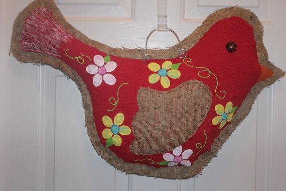 Handpainted Burlap Bird Door Hanger
