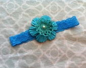 Baby Lace Layered Flower Headband with Pearl