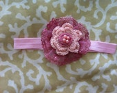 Chic Baby Layered Lace Crochet Flower Headband with Pink Pearls