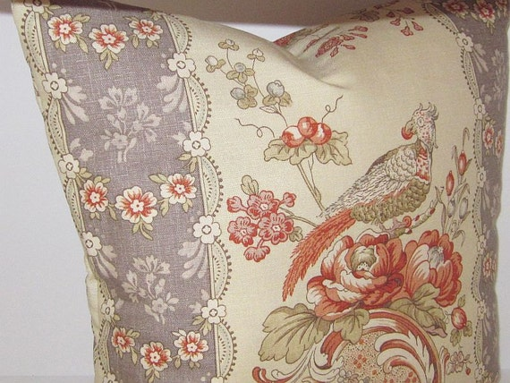 """Designer Pillow Cover Vervain Blythe Document Faded Tan Rust Brown Toile Birds Floral Flowers French Custom Decorative Couch Sofa Throw 20"""""""