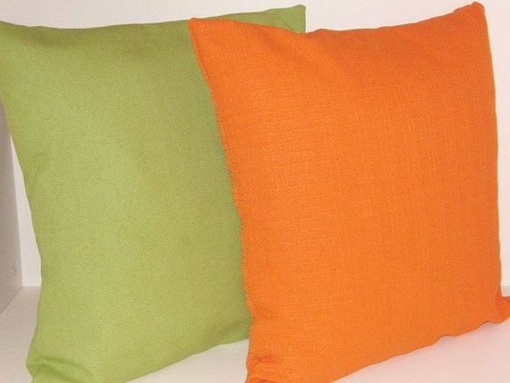 Mid Century Modern Pillow Covers Retro Orange by DesignerPillows4U