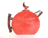 50% OFF SALE Moon and Sun Teapot, modern handmade ceramic sculptural tea pot pottery in a contemporary style in scarlet crimson red