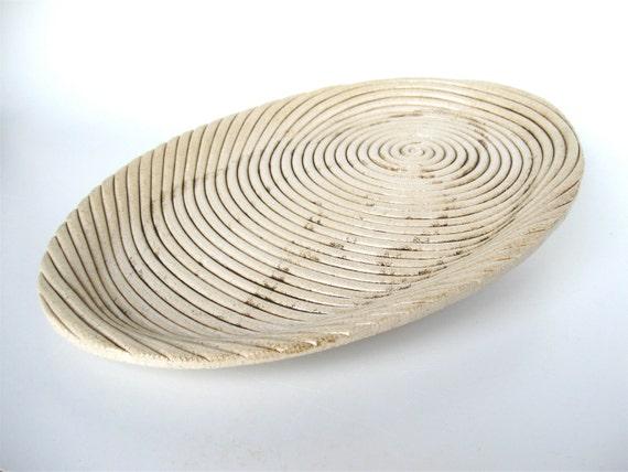 Spiral Ceramic Serving Platter, modern stoneware pottery oval platter in white cream weddings table settings decorations decor gift present
