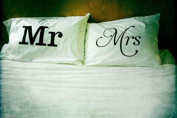 Mr Amp Mrs Pillowcase Set By Dustysandlulu On Etsy